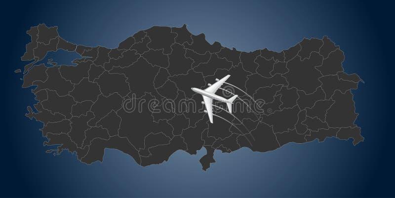 Die Türkei-Fluglinie, Karte, Fliege in die Türkei vektor abbildung