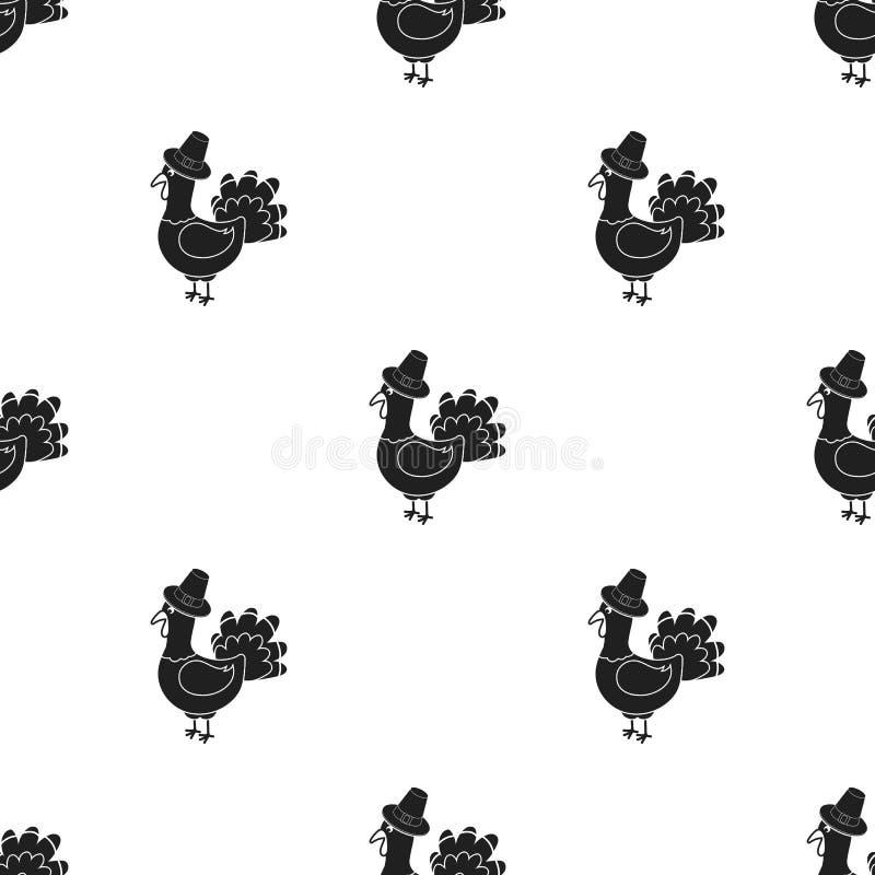 Die Türkei-Ikone in der schwarzen Art lokalisiert auf weißem Hintergrund Kanadische Danksagungs-Tagesmustervorrat-Vektorillustrat stock abbildung