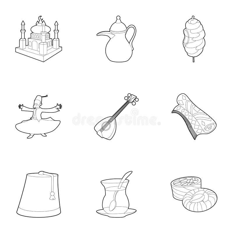 Die Türkei-Ikonen eingestellt, Entwurfsart stock abbildung