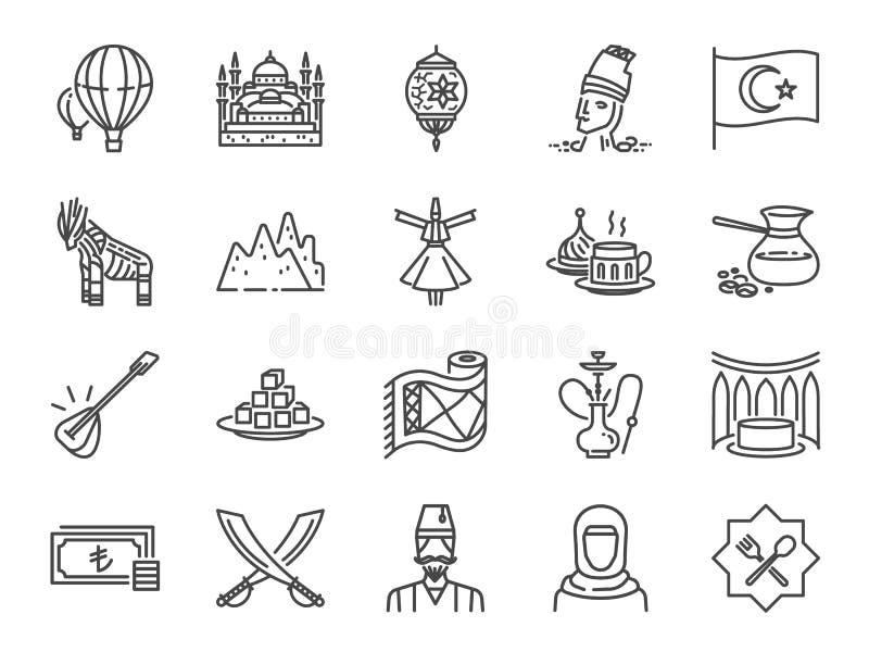 Die Türkei-Ikonensatz Enthaltene Ikonen, wie das Türkische, Istanbul, Cappadocia, islamisches, traditionelles, Kaffee und mehr stock abbildung