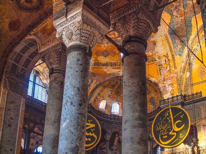 Die Türkei, Istanbul, Hagia Sophia, kalligraphische Scheiben, frescoed Decke lizenzfreies stockfoto