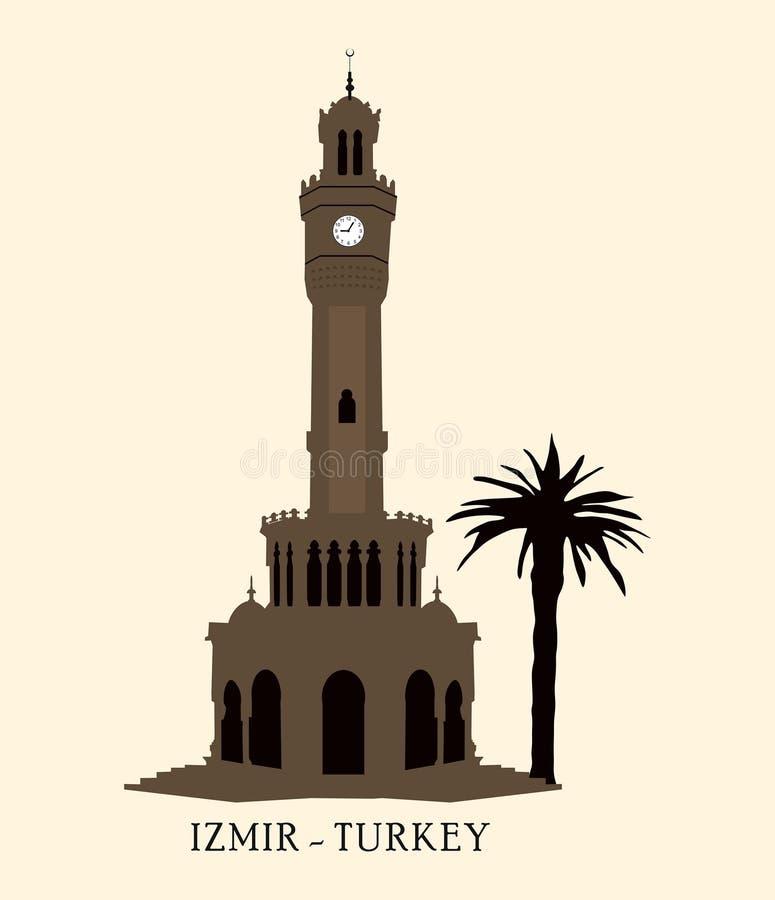 Die Türkei, Izmir, konak Glockenturm, Markstein die Türkei von Izmir-Stadt, Reiseikone, lizenzfreie abbildung