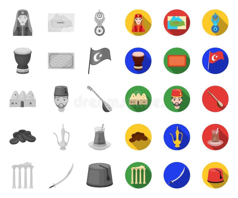 Die Türkei-Land mono, flache Ikonen in gesetzter Sammlung für Entwurf Reise und Anziehungskr?fte vector Netzillustration des Symb stock abbildung