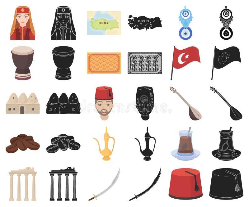 Die Türkei-Landkarikatur, schwarze Ikonen in gesetzter Sammlung für Entwurf Reise- und Anziehungskraftvektorsymbol-Vorratnetz lizenzfreie abbildung