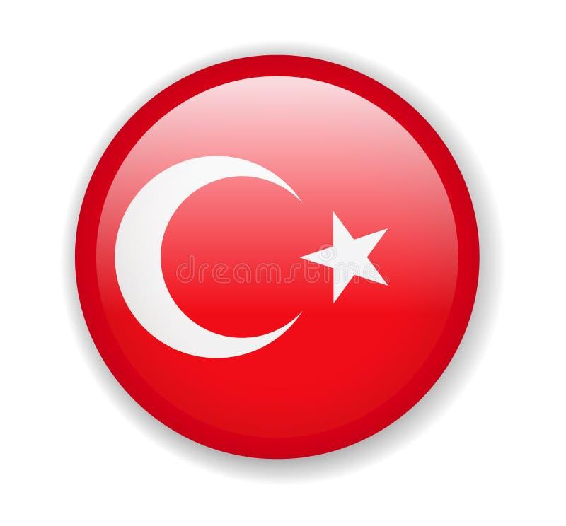 Die Türkei-Markierungsfahne Runde helle Ikone auf einem weißen Hintergrund stock abbildung