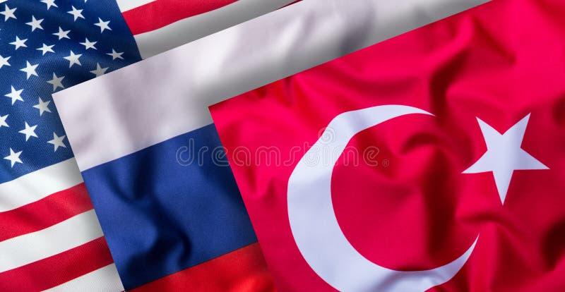 Die Türkei Russland und USA-Flaggen Collage von Weltflaggen vektor abbildung
