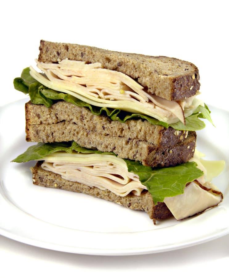 Die Türkei-Sandwich auf vollständigem Korn-Brot lizenzfreies stockfoto