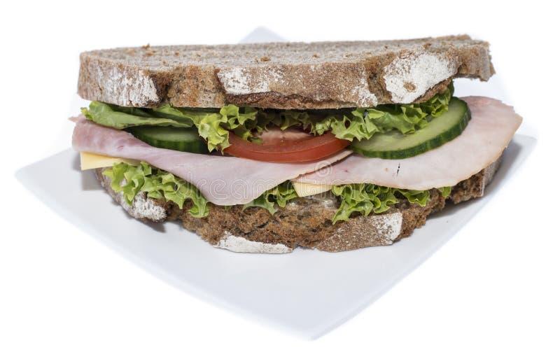 Die Türkei-Sandwich (lokalisiert auf Weiß) stockbild