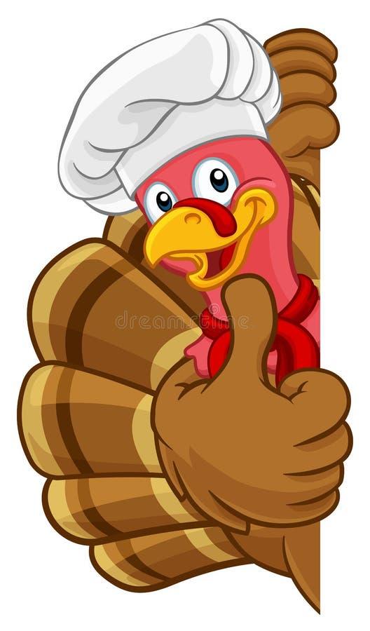 Die T?rkei-Chef Thanksgiving oder Weihnachtskarikatur stock abbildung