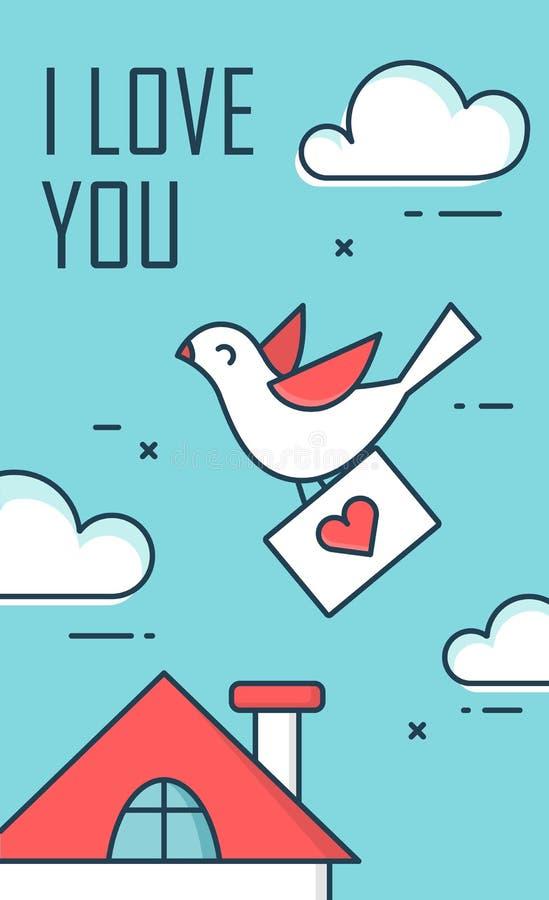 Die Taube mit einem Umschlag im Himmel Heilig-Valentine Day-Designgrußkarte Flache Linie Art lizenzfreie abbildung