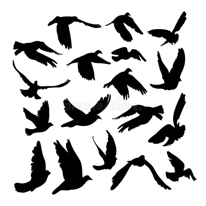 Die Tauben und Tauben, die für Friedenskonzept und -Hochzeit eingestellt werden, entwerfen Fliegender Taubenskizzensatz lizenzfreie abbildung