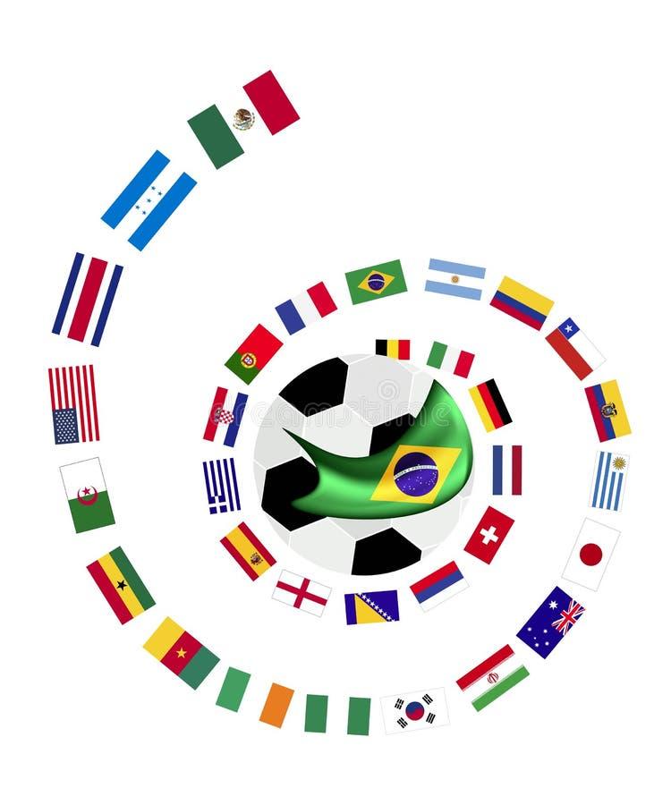 Die 32 Teams in Brasilien 2014 Weltcup vektor abbildung