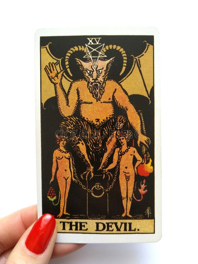 Die Teufel-Tarock-Karten-Knechtschaft, Versuchung, Versklavung, Materialismus, Sucht stockfotos