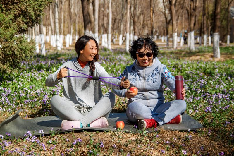 Die Tochter hilft ihrer Mutter mit Übungen im Park lizenzfreie stockfotos