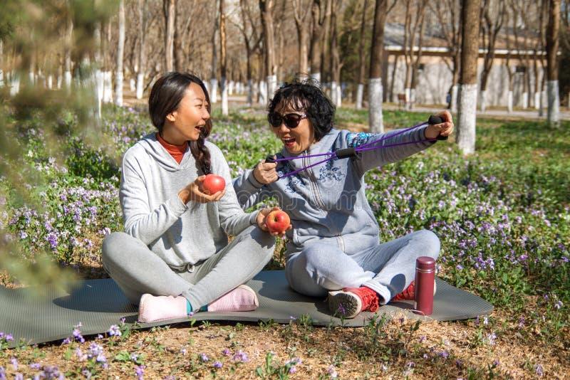 Die Tochter hilft ihrer Mutter mit Übungen im Park lizenzfreies stockbild