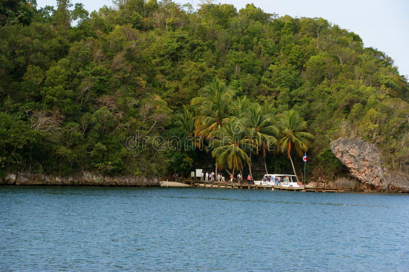 Die Touristen gelandet auf der Insel Dominikanische Republik stockbilder