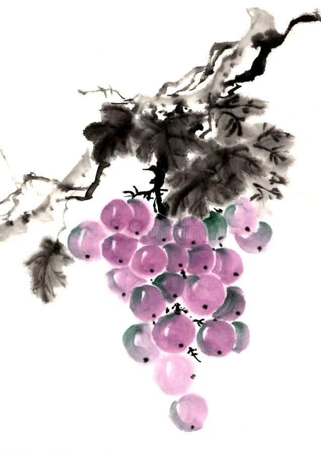 Die traditionelle alte chinesische handgemalte Frucht, Trauben vektor abbildung