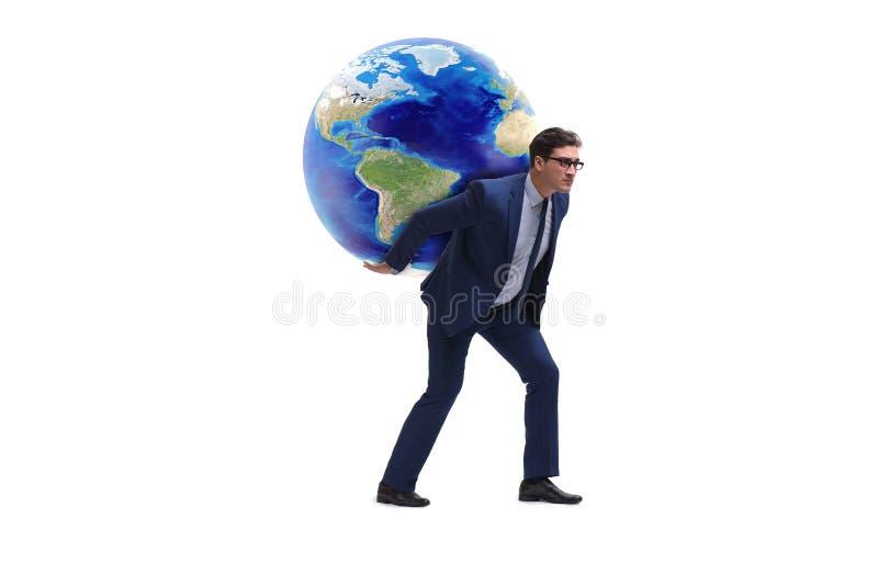 Die tragende Erde des Geschäftsmannes auf seinen Schultern stockfotos