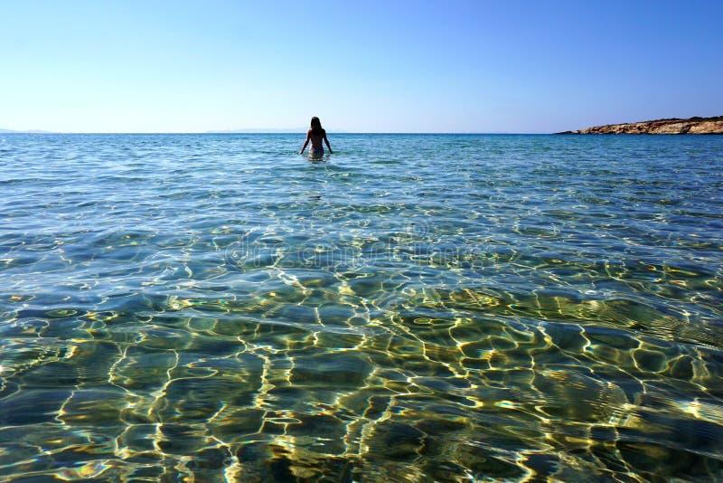 Die Transparenz des Türkiswassers Kolimbithres-Strandes auf der Insel von Paros lizenzfreies stockbild