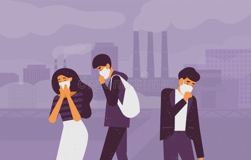 Die traurigen Leute, welche die schützenden Gesichtsmasken gehen auf Straße gegen Fabrik tragen, leiten das Ausstrahlen des Rauch lizenzfreie abbildung