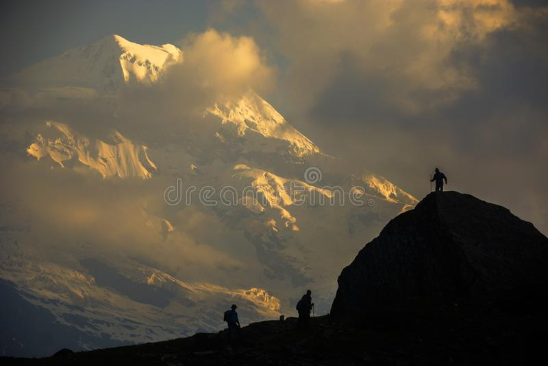 Die Trekkers von Himalaja lizenzfreies stockfoto