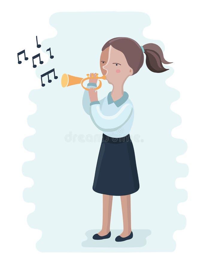 Die Trompetenleistung durch das Schulmädchen vektor abbildung
