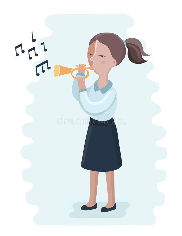 Die Trompetenleistung durch die Oberschülerin vektor abbildung