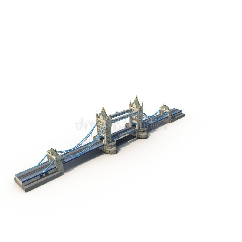 Die Turm-Brücke, London, Großbritannien auf Weiß Abbildung 3D stock abbildung