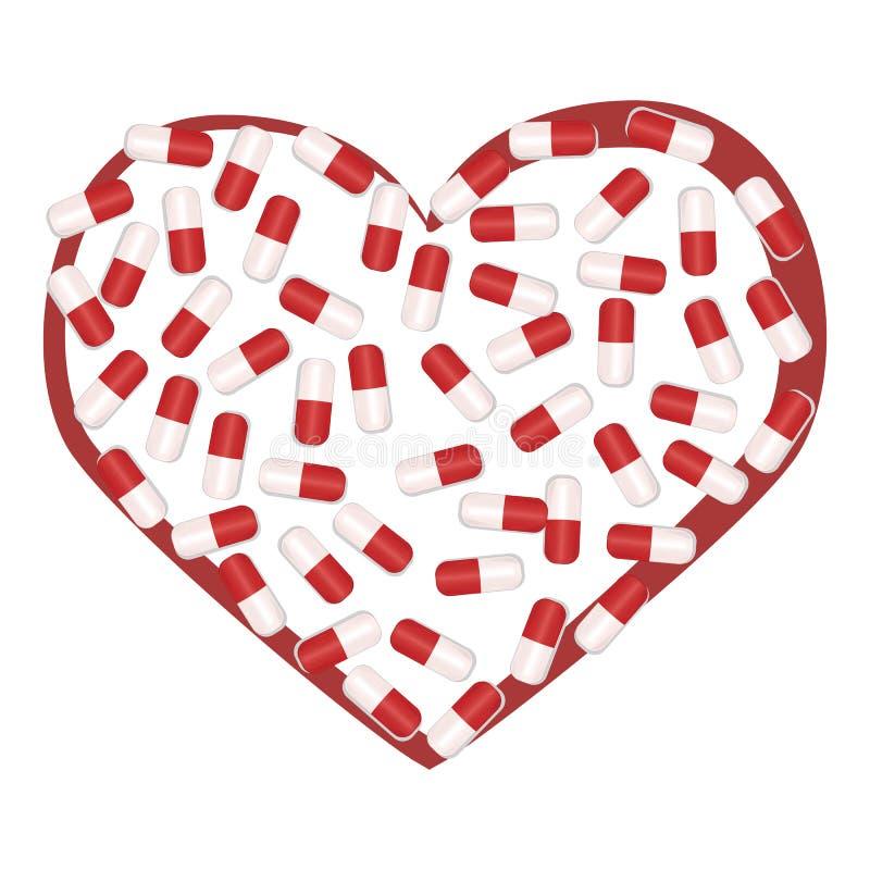 Die uditsinsky Kapseln, die in Form von Herzen liegen vektor abbildung