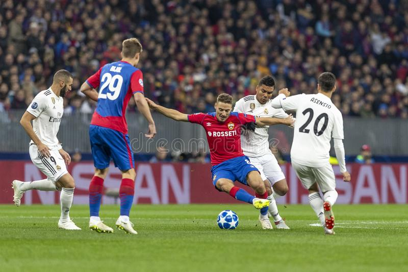Die UEFA verficht Punktspiel an Luzhniki-Stadion, CSKA - Real Madrid lizenzfreies stockbild