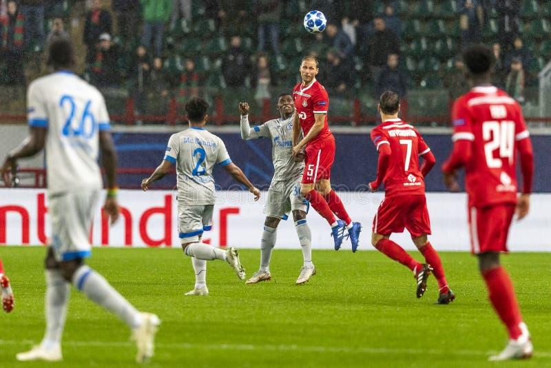 """Die UEFA verficht Punktspiel an Stadion """"RZD ARENAÂ"""", Lokomotiv - Schalke 04 lizenzfreies stockfoto"""