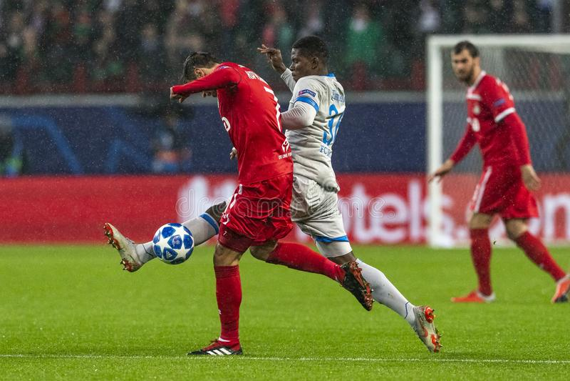 """Die UEFA verficht Punktspiel an Stadion """"RZD ARENAÂ"""", Lokomotiv - Schalke 04 stockfotos"""
