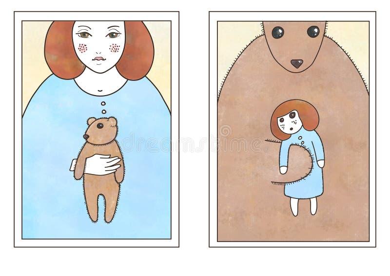 Die Umstellung der Mädchen und des Teddybären stock abbildung