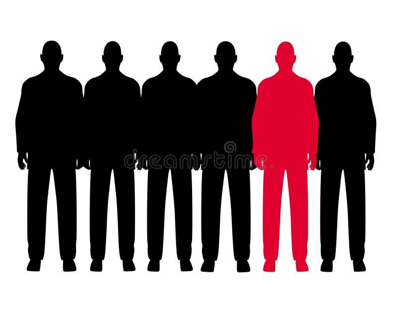 Die ungerade Mann-heraus Reihe der Männer vektor abbildung