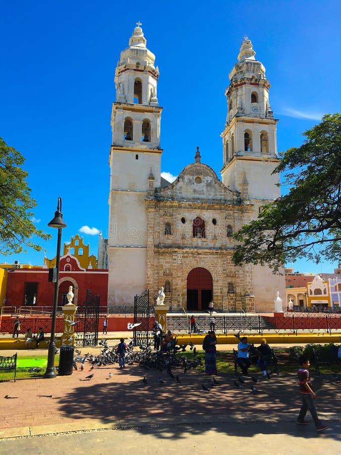 Die unsere Dame der Kathedrale der Unbefleckten Empfängnis in Campeche, lizenzfreies stockfoto