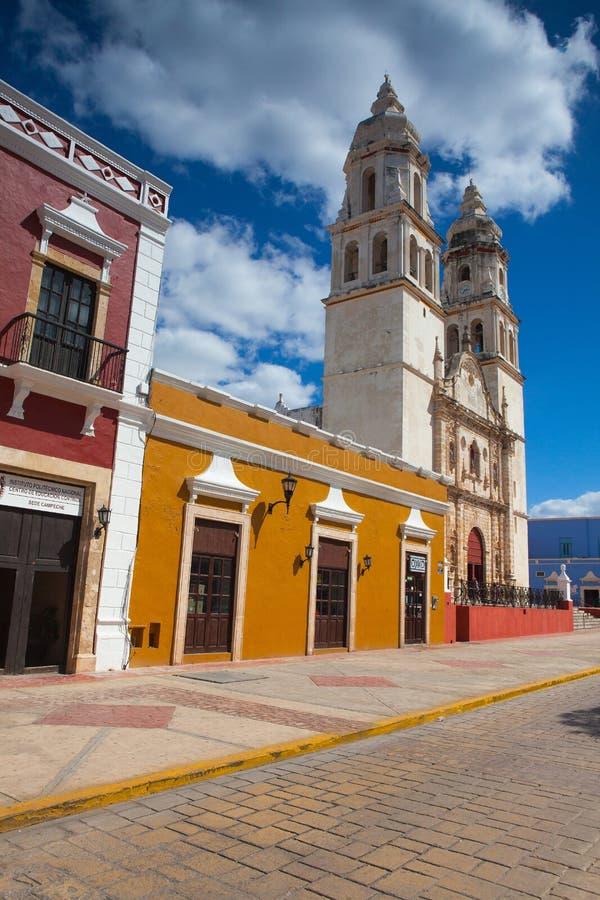 Die unsere Dame der Kathedrale der Unbefleckten Empfängnis in Campeche, lizenzfreie stockfotos