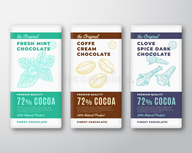 Die ursprüngliche feinste Schokoladen-Zusammenfassungs-Vektor-Verpackungsgestaltungs-Kennsatzfamilie Moderne Typografie und Hand  lizenzfreie abbildung
