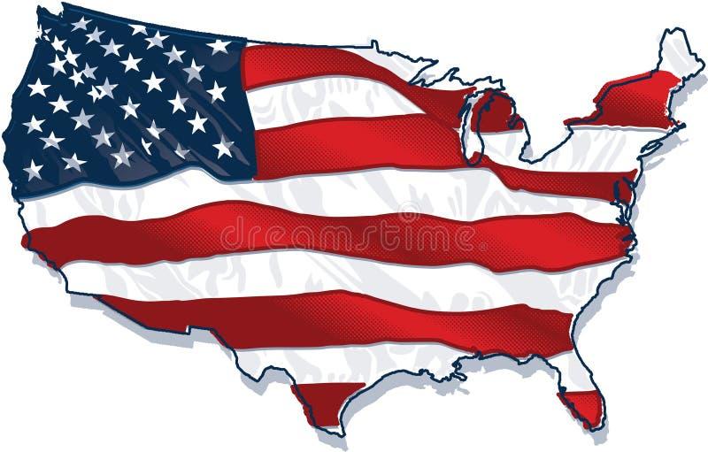 Land-förmige Flagge USA stock abbildung
