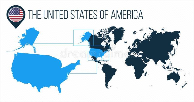 Die USA-Karte der Vereinigten Staaten von Amerika gelegen auf einer Weltkarte mit Flagge und Kartenzeiger oder -stift Infographic stockbilder