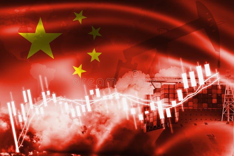 Die Völker-Republik- Chinaflagge, Börse, Austausch Wirtschaft und Handel, Erdölgewinnung, Containerschiff im Export und Import vektor abbildung