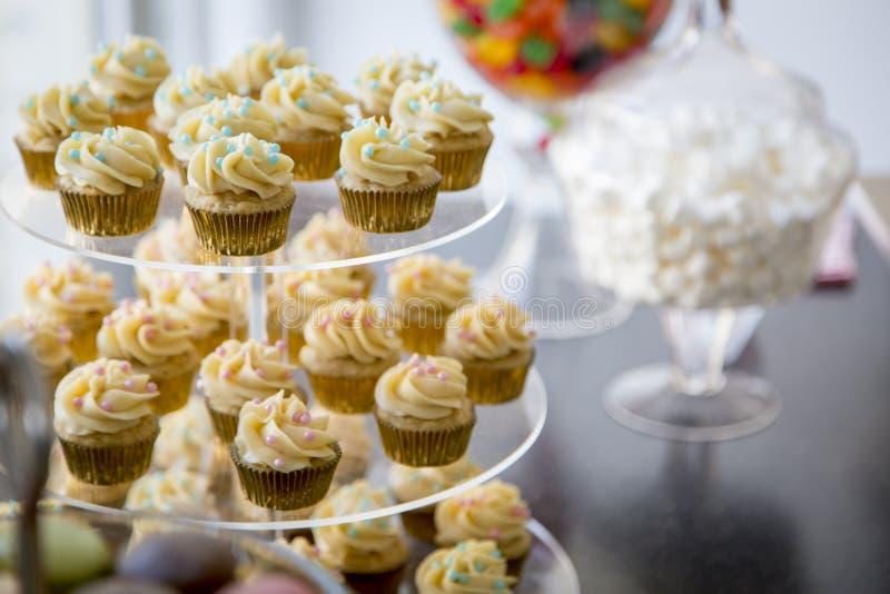 Die Vanilleschoteminikleinen kuchen, die mit cyan-blauer u. rosa Süßigkeit verziert werden, bördelt auf einem klaren abgestuften  stockbilder