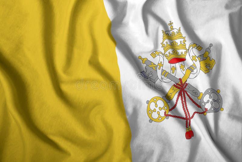 Die Vatikanfahne fliegt im Wind farbenfrohe Nationalflagge des Vatikans Patriotismus, patriotisches Symbol lizenzfreies stockbild