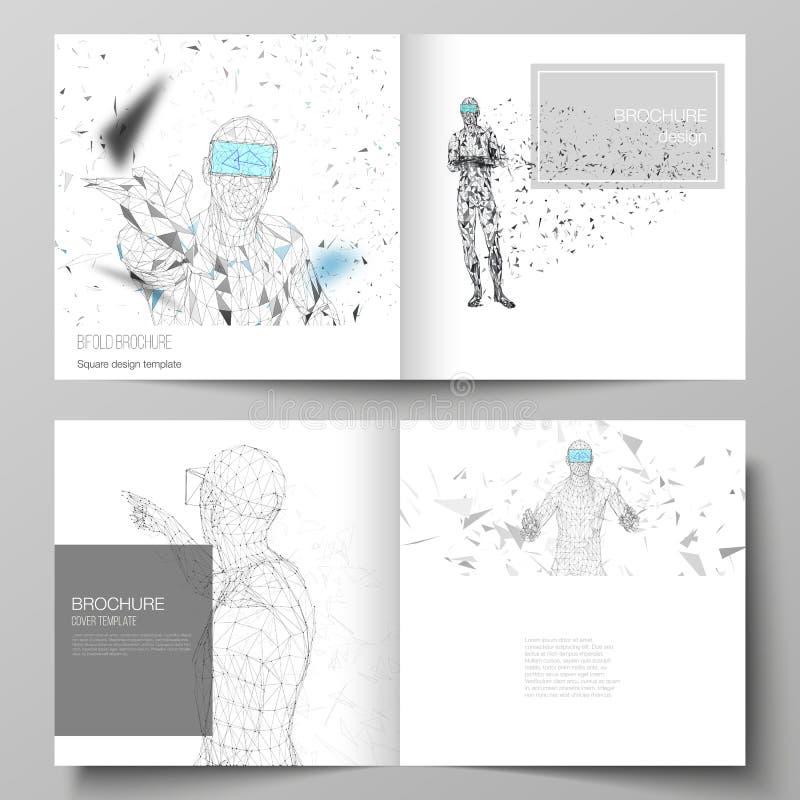 Die Vektorillustration des editable Plans von zwei Abdeckung Schabloneen für bifold Broschüre des quadratischen Designs, Zeitschr lizenzfreie abbildung