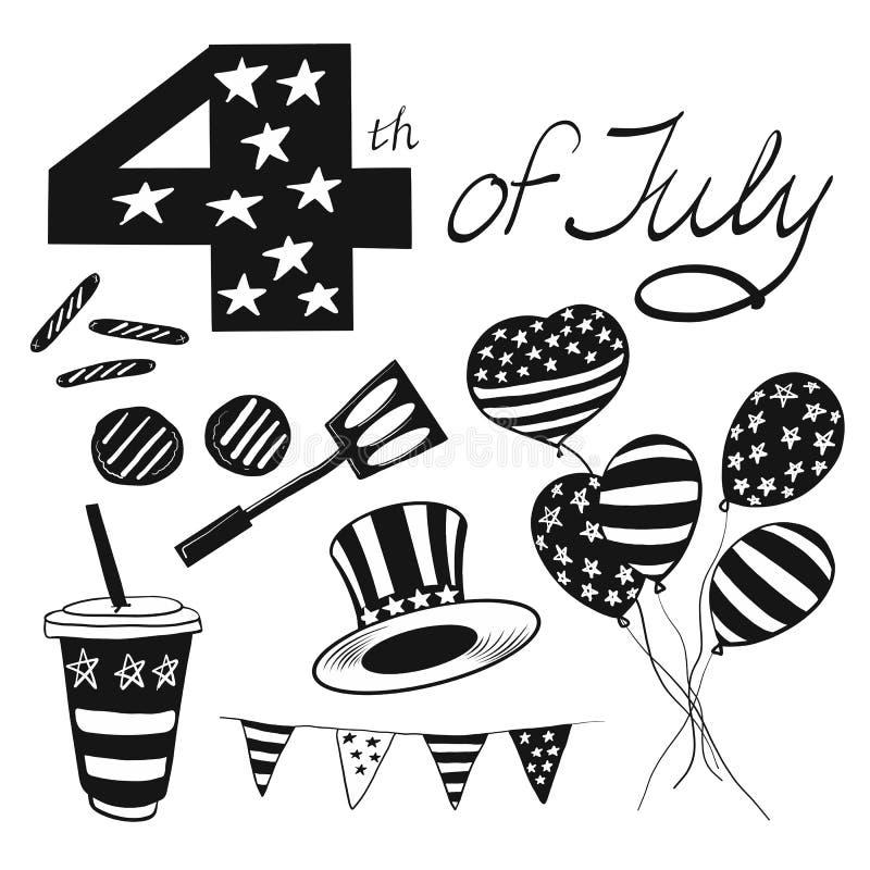 Die Vektorillustration wendet glücklichen Unabhängigkeitstag in Schwarzweiss gefärbt für Anzeige ein Picknick, Würste, Ball, 4 vo vektor abbildung