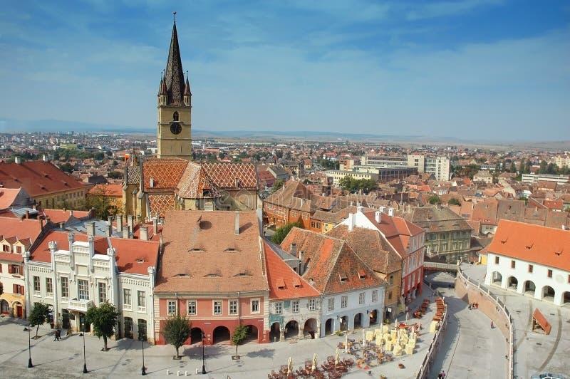 Die verbesserte Kirche in Sibiu, Rumänien lizenzfreie stockfotografie