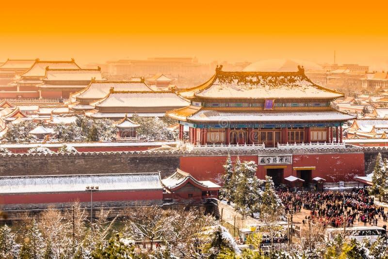 Die Verbotene Stadt im Winter, Peking lizenzfreie stockfotografie