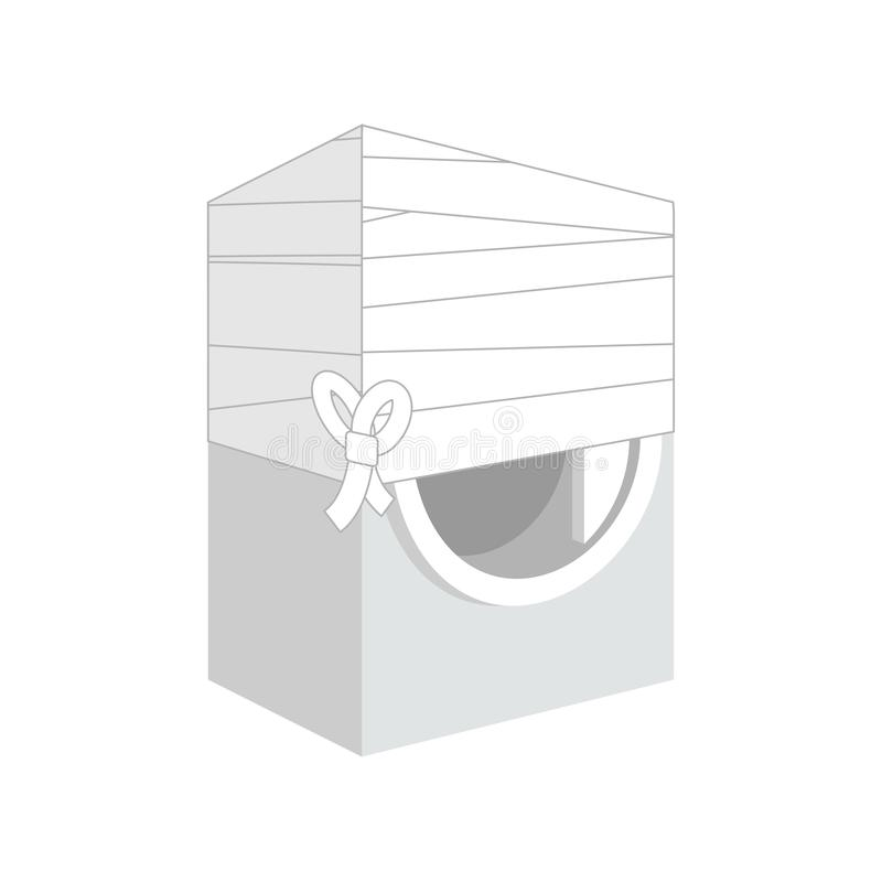 Die verbundene Waschmaschine gliederte auf kranke Waschmaschine Karikatur-Art Vektor stock abbildung
