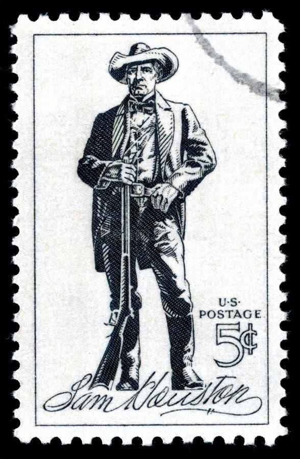 Die Vereinigten Staaten von Amerika annullierten die Briefmarke, die eine Lithographie von Sam Houston zeigt stockfotografie