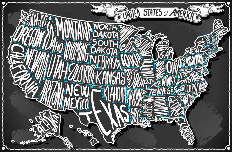 Die Vereinigten Staaten von Amerika auf Weinlese-Handschrifts-Tafel lizenzfreie abbildung