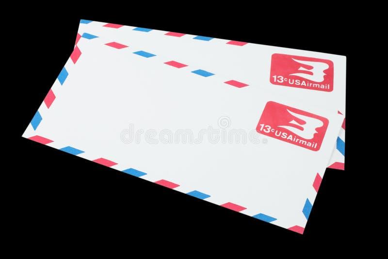 DIE VEREINIGTEN STAATEN VON AMERIKA - CIRCA 1968: Ein alter Umschlag für Luftpost lizenzfreie stockbilder